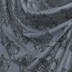 Портьерная ткань бархат серый с рисунком